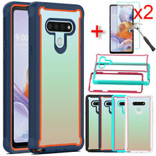 For LG Stylo 6 Case Shockproof Bumper Hybrid Phone Cover Glass Screen Protector