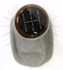 Genuine EURO OEM VW B5 3B Passat 5 Speed Gray Leather & Dark Wood Shift Knob