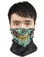 Green Skull Face Ghoul Pattern Neck Shield Seamless Bandana Mask Wind Protector