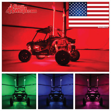 LED Lighted 6' Whip with WIRELESS Remote- Changes 20 Colors- ATV w/American