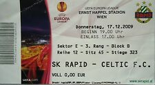 TICKET UEFA EL 2009/10 Rapid Wien - Celtic FC