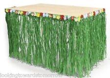WEDDING Table Skirt Green Grass w/Hibiscus Flower Beach Hawaiian Luau Tiki Party