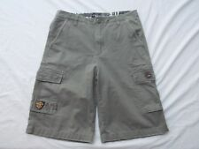 vtg Quiksilver mens boys grn khaki cargo shorts snap pockets size 20 waist 32in