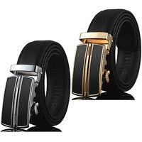 Luxury Men's Genuine Leather Fashion Automatic Buckle Waist Strap Black Belt New