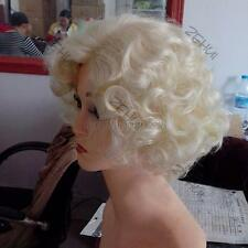 Fashion Short Blond Curly Wig Cosplay Marilyn Monroe Hair Costume Full Wigs E76