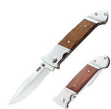 SOG Fielder Folding Knife Satin Finish 7CR17 Stainless Steel Blade Wood Handle