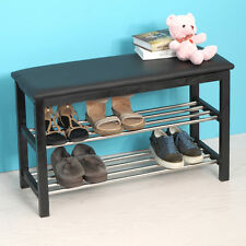 Black Shoe Rack Bench Storage Shelf Bedroom Entryway Foyer Furniture Stool
