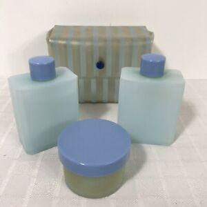 Vintage Toiletries Travel Set Celebrity Plastic Vinyl Blue Striped