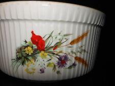 BIA Cordon Bleu Souffle Baking Dish, France, Porcelain, Flowers/Wheat Pattern