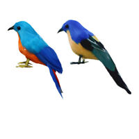 2pcs Fake Artificial Bird Realistic Imitation Bird Home Garden Decor 14cm