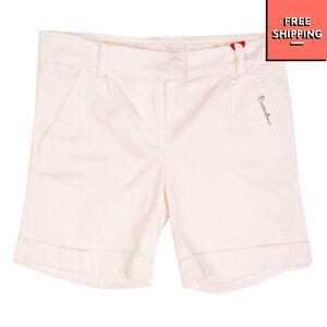 BRACCIALINI GIRL Chino Style Shorts Size 10Y Stretch Metal Logo Zip Fly