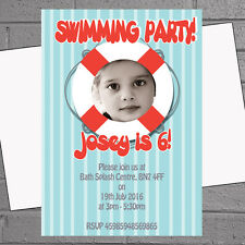 Personalised Swimming Pool Photo Kids Birthday Party Invitations x 12+envs H1236