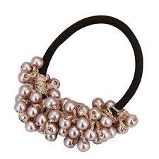 Fashion Womens Rhinestone Crystal Pearl Hair Band Rope Elastic Ponytail Holder