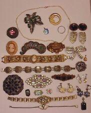 Vintage Art Deco Jewelry Lot Gold Fill Sterling 14k Rhinestone Cameo Wear Repair