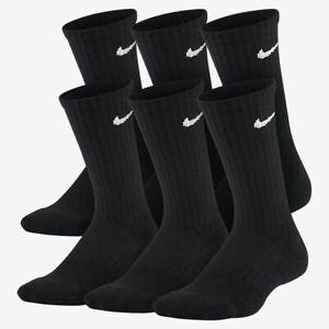 Nike Kids Performance Cushioned Dri-Fit Crew Training Socks 3 Pair Pack Sz 5-7