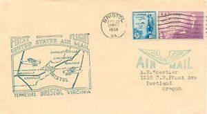 USA 1934 decorative superb rare First Flight BRISTOL – CHARLOTTESVILLE VIRGINIA