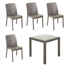 Set da giardino design tavolo quadrato 80x80 tortora con 4 sedie senza braccioli