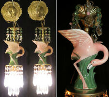 2 Sconces Tropical Pink FLAMINGO Brass vintage lamp Porcelain Beaded crystal