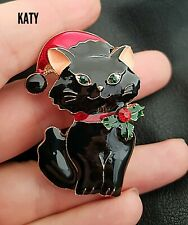 Christmas Black Cat Brooch Holly Berry Collar Red Hat Green Crystal Broach Gift