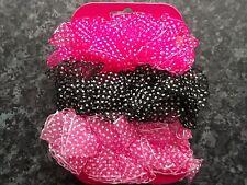 Value pack 3 polka dot hair scrunchies sheer fabric band bobbles elastic pink