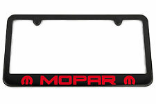 MOPAR Satin Black License Plate Frame - Red Engraved Logo - USA Made