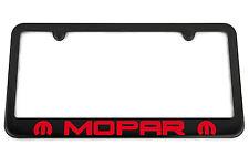 MOPAR Satin Black License Plate Frame - Red Engraved Logo - USA Made