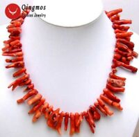 """6*50mm GENUINE Branch Red Coral Necklace for Women Jewelry Long Necklace 20"""""""