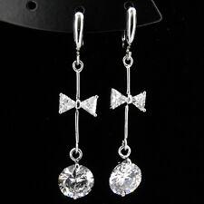 Bowknot Round Cut 18K W GP Earring Wedding Bridal Party Jewelry CZ Clear New 351