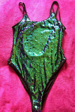 NEW LOOK REVERSIBLE SEQUIN SHINY SWIMMING COSTUME SWIMSUIT SIZE 12 14 ♡♡♡