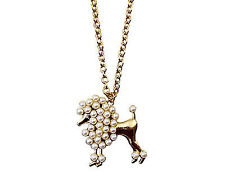 Women Girl Retro Metallic Puppy Poodle Pearl Dress Sweater Long chain Necklace