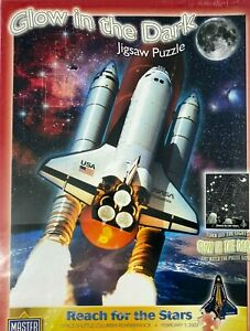 """SPACE SHUTTLE COLUMBIA GLOW IN THE DARK 550 PIECE JIGSAW PUZZLE 18""""X24"""" SEALED"""