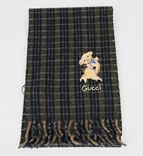 Gucci Black/Brown/Gray Wool/Cahsmere Embroidered Pig Patch Scarf 522066 3261