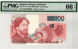 1995 -2001 Belgium 100 Francs PMG66 EPQ GEM UNC <P-147>