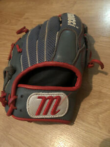 Marucci Geaux Series Mesh Baseball Gloves Fits Left Hand Gray & Red