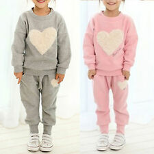 Kid Girls Heart Print Sweatshirt Top Pants Outfit Clothes Tracksuit Sets Outwear