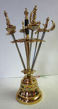 Mid-Century Barware, Toledo, Spain Sword-Shaped Cocktail Picks on Bell Stand