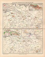 Nutzbare Mineralien in DEUTSCHLAND Salz BraunkkohlenGold Kohle Landkarte um 1900