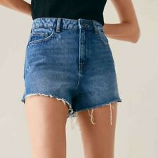 ZARA WOMEN BLUE 100% COTTON HIGH WAIST SOMA BLUE SHORTS  SIZE 10 M NEW WITH TAG