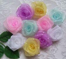 """1 """" Mix (5 Colors)Pastel Organza Ribbon Roses Appliques-Lots 50 Pcs (R0082L)"""