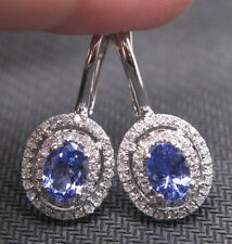 2.64CT SOLID 14K WHITE GOLD NATURAL BLUE TANZANITE DIAMOND EARRING