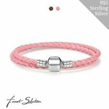 Doppelt Geflochtenes Leder Charm Armband Clip Verschluss für Pandora 925 Sterlin