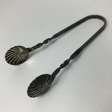 """VINTAGE STERLING SILVER TWISTED HANDLE & SHELL SUGAR TONGS 3 1/4"""""""