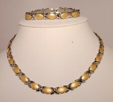 Stainless Steel Two Tone Ladies Necklace& Bracelet Set X&O Best Seller