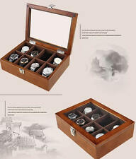8 Grid Fashion WOOD Watch Case Jewelry Display Storage Box for Gift Men Women