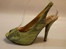 HALE BOB Women's Shoes Slingbacks PEEP TOE Leather SNAKE Print Green Sz 7.5 EUC