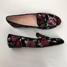 0105e82d193a Kate Spade New York Swinton Women Sz 6.5 M Black Suede Floral Slip On Flat  Shoe