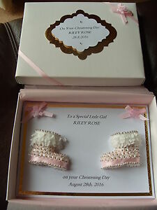 Handmade Personalised Boxed  Baby Girl's Christening Card and Box