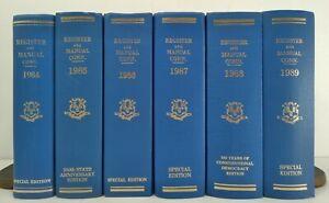 1984-1989~Vtg Register And Manual Connecticut~6 Blue Book Decor Lot~Classy Set