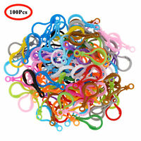 100 Lobster Claw Clasps Buckle Plastic Hook Keychain Key Ring Connector Jewelry