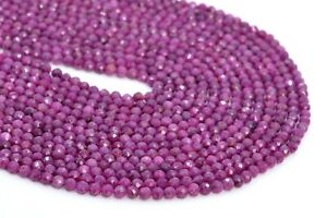 """4MM Genuine Natural Ruby Beads Grade AAA Faceted Round Gemstone Loose Beads 7.5"""""""